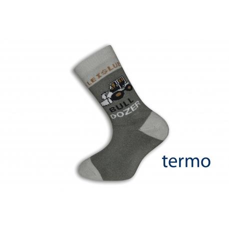 Olivové detské ponožky s buldozerom