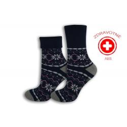 Zdravotné modré teplé dámske ponožky s ABS