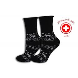 Čierne zdravotné teplé ponožky s ABS
