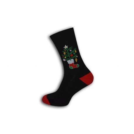 Čierne vianočné ponožky so stromčekom