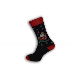 Čierne vianočné ponožky s Mikulášom