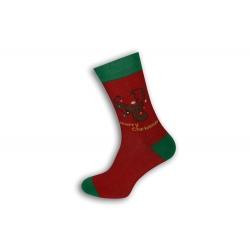 Červené vianočné ponožky so sobom