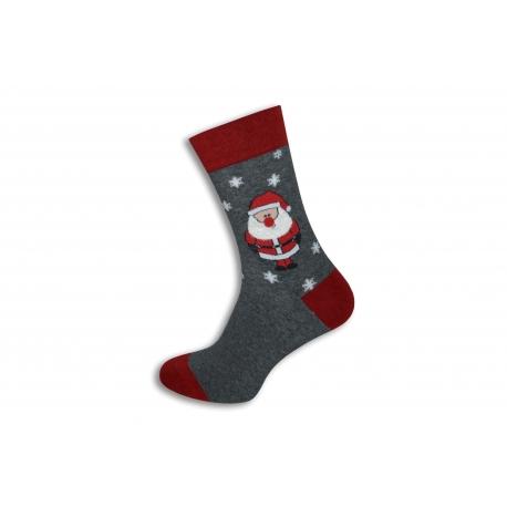 Šedé vianočné ponožky s Mikulášom