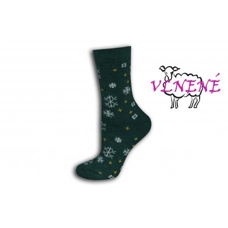 Zelené vlnené ponožky s vločkami