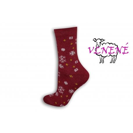 Bordové vlnené dámske ponožky