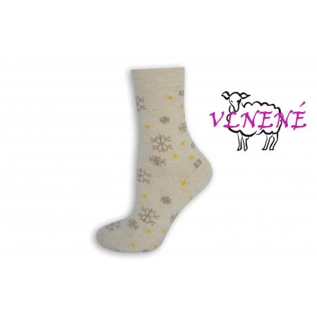 Smotanové vlnené dámske ponožky