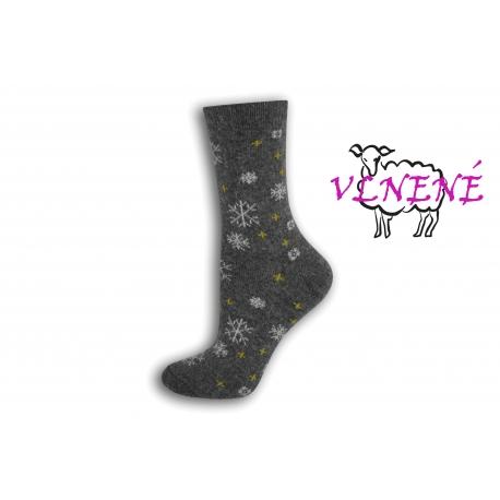 Šedé vlnené ponožky s vločkami