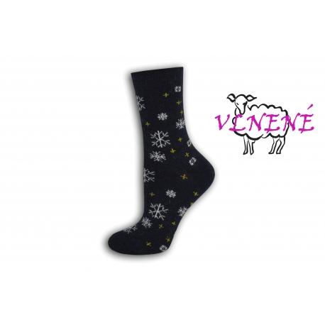 Modré vlnené ponožky s vločkami