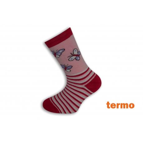 Ružové teplé ponožky s motýľmi