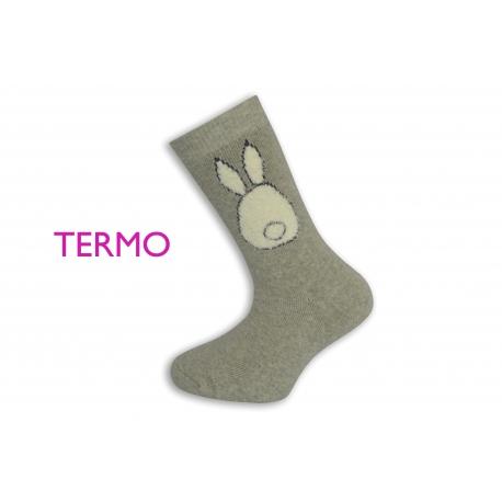 Sivé teplé ponožky so zajacom