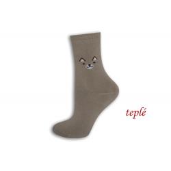 Kapučínové teplé ponožky s očami