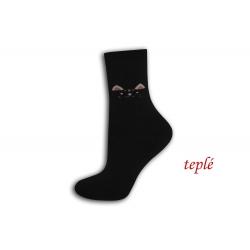 Čierne teplé ponožky s očami