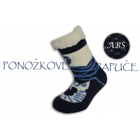 Ponožkové papuče s ABS - modré