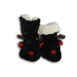 Čierne vysoké papuče s podrážkou