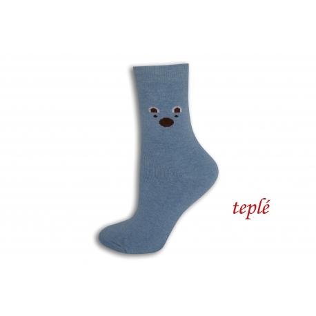 Modré teplé ponožky s očami