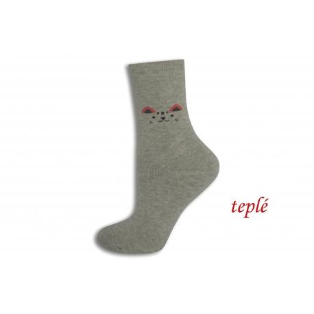 Sivé teplé ponožky s očami