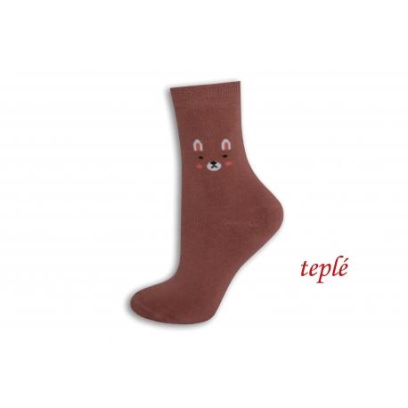 Tehlové teplé ponožky s očami