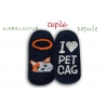 Kabelkové modré ponožky ako papuče - s mačkou