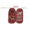 Kabelkové ružové ponožky ako papuče - s mačkou