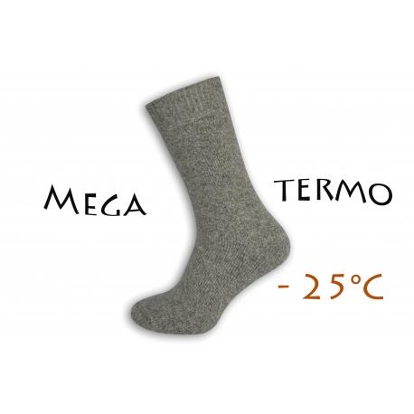 Mega termo vlnené ponožky - sivé