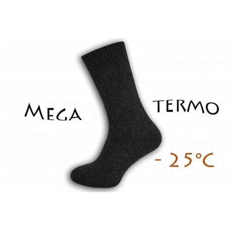Mega termo vlnené ponožky - antracit