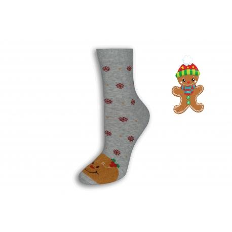 Sivé vianočné ponožky s Perníčkom