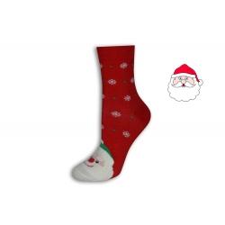 Červené vianočné ponožky s Mikulášom