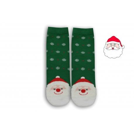 Zelené vianočné ponožky s Mikulášom