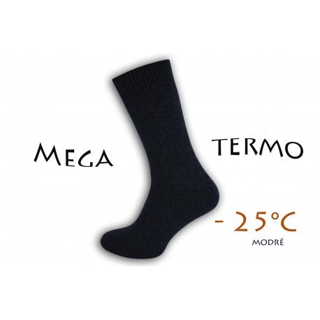 Mega termo vlnené ponožky - modré