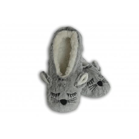 Jemnučké plyšové sivé papuče