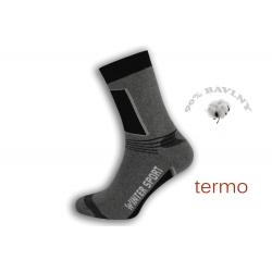 Športové sivé vysoké teplé ponožky