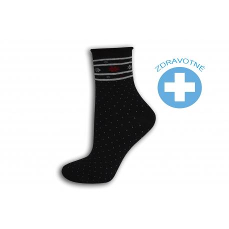 Čierne bodkované zdravotné ponožky