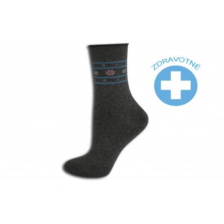 Šedé bodkované zdravotné ponožky