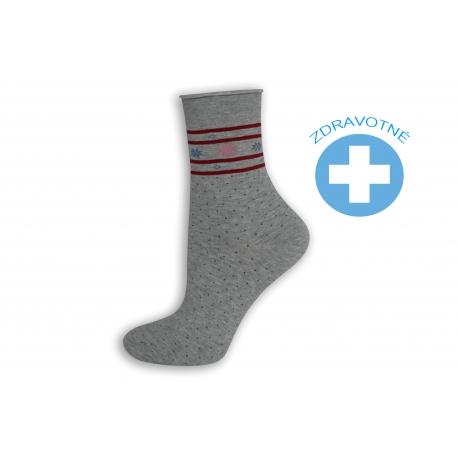 Sivé bodkované zdravotné ponožky