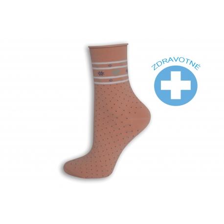 Ružové bodkované zdravotné ponožky