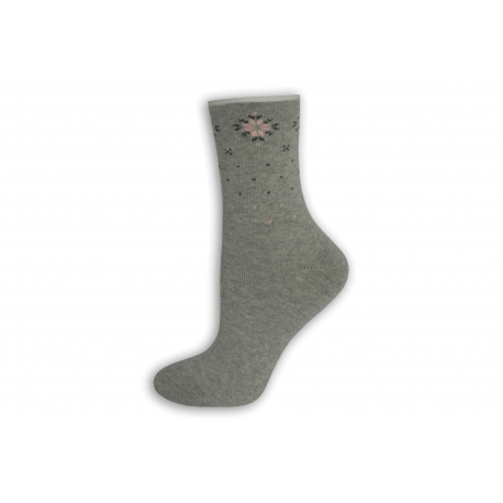 Sivé teplé ponožky bez lemu