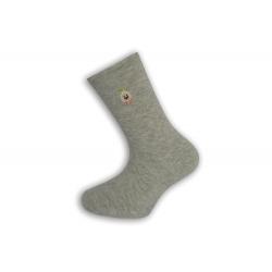 Jednofarebné sivé ponožky s výšivkou