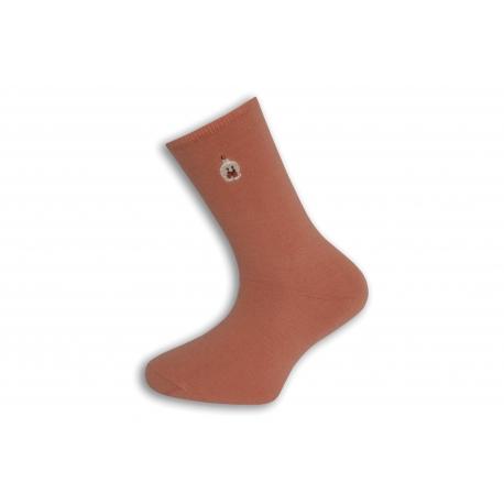 Jednofarebné lososové ponožky s výšivkou