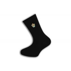 Jednofarebné čierne ponožky s výšivkou