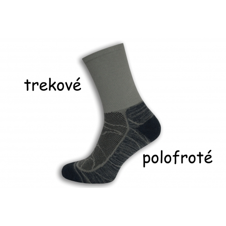 Trekové polofroté sivé ponožky