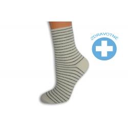 Pásikavé smotanové dámske ponožky