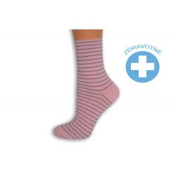 Pásikavé ružové dámske ponožky