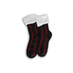 Čierno-červené kárované ponožkové papuče