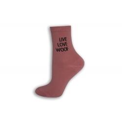 Ružové ponožky s nápisom