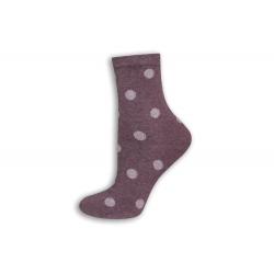 Fialové dámske ponožky s bodkami