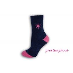 IBA 35-38! Teplé dámske ponožky s vločkou-fialové