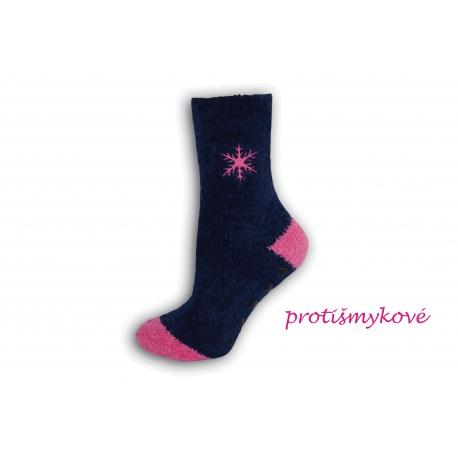 Nádherné teplé dámske ponožky s vločkou-fialové