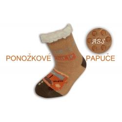Huňaté ponožkové papuče s autom - bl.hnedé