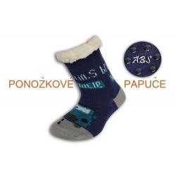 Huňaté ponožkové papuče s autom - modré