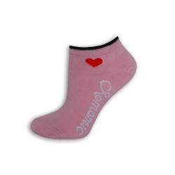 ROMANTIC. Ružové ponožky so srdiečkom